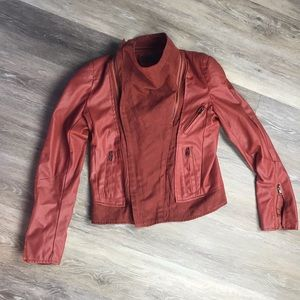 TOV Faux Leather and Suede Brick Red Jacket Small